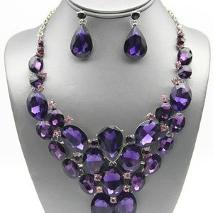 Purple Statement Pageant Necklace Set